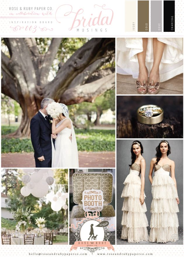 A sophisticated wedding colour palette of gold, dove grey & charcoal for a sophisticated outdoor soiree! By Rose & Ruby Paper Co. @Rose Murphy