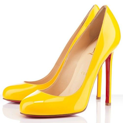 Sale red bottom heels-Lady Lynch 120mm pumps yellow patent leather Only  $189 -Material. Christian Louboutin ...