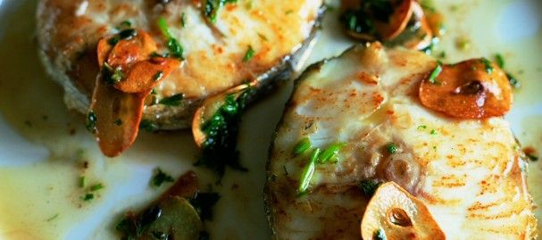 Hake-with-crispy-garlic and Olive oil...have never seen Hake in my ...