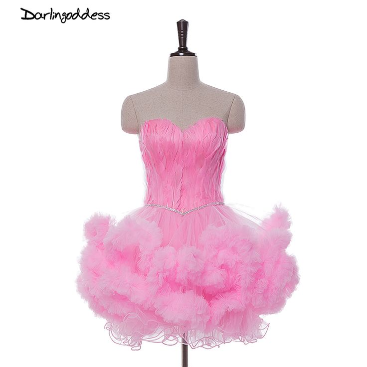 Sexy Short Light Pink Cocktail Dresses 2017 Feather Crystal Formal Party Bridal Girl Dress Style Special Occasion Cocktail Dress