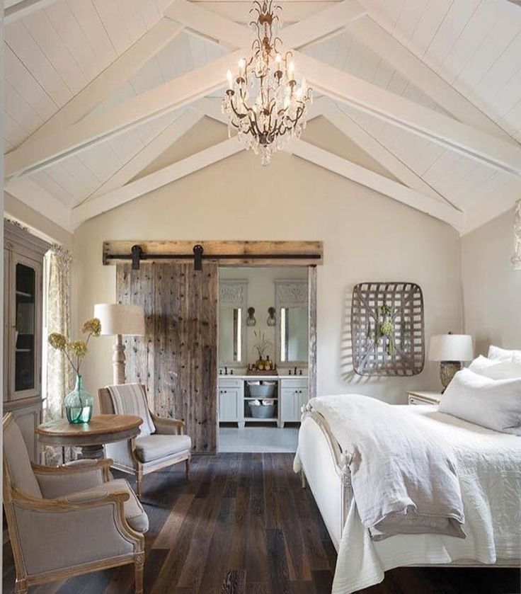 Not sure about the sliding barn door but I like the layout of this master bedroom.  not too big but spacious.