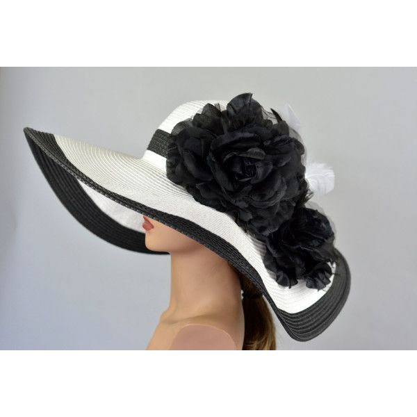 Black White Strips Woman Party Hat Kentucky Derby Hat Tea Hat Wedding... ($66) ❤ liked on Polyvore featuring accessories, hats, bridal hats, hair fascinators, fascinator hat, tea party hats and brimmed hat