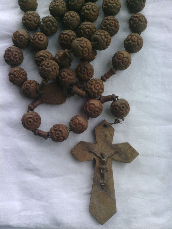Antique French Wooden Nuns Rosary Beads Rosaries Beads