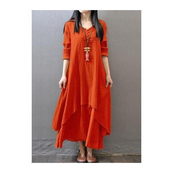 Rotita Button Design V Neck Layered Orange Dress ($26) ❤ liked on Polyvore featuring dresses, orange, v-neck dresses, red orange dress, red v neck dress, orange dress and red long sleeve dress