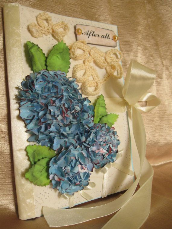 Rustic Wedding guest book 3D blue hydrangea aged by PurpleBirdShop