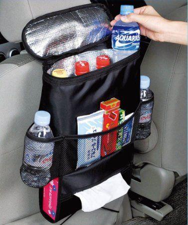 Kabalo Organisateur de siège de voiture / Tidy avec sac isotherme et distributeur de tissus, porte-boissons refroidisseur réfrigérateur