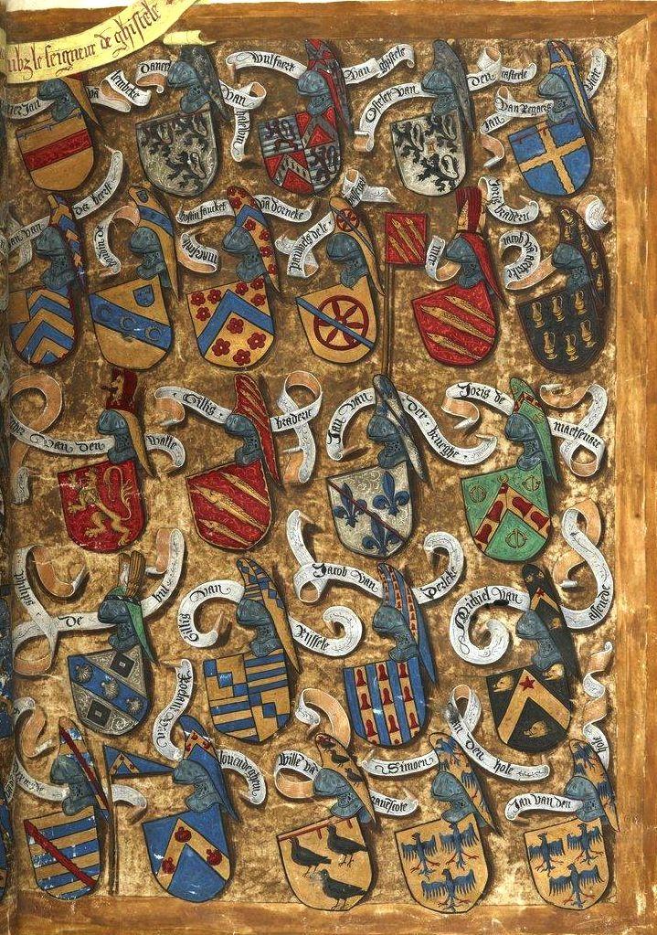 Tournoi «fait en la ville de Bruges par tres hault et puissant seigneur, monseigneur de La Gruthuse», le 11 juin 1392; avec les armoiries des combattants (f°Fr) -- «Traittié de la forme et devis comme on fait les tournoyz», par René d'Anjou, 1401-1500 [BNF Ms Fr 2693- ark:/12148/btv1b8449033b]