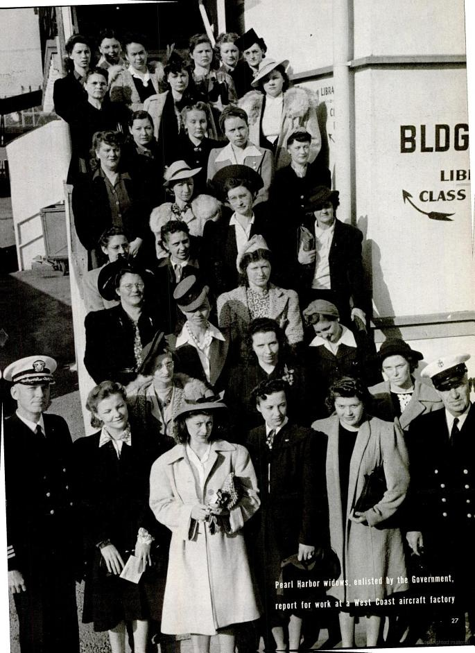 Pearl Harbor widows, enlisted by the government, report for work at a West Coast air factory. February, 1942