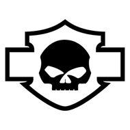 Sticker Harley Davidson logo silhouette skull