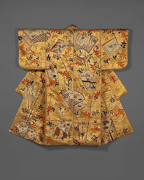 Noh costume (nuihaku) with books and nandina branches, Edo period (1615–1868), Japan