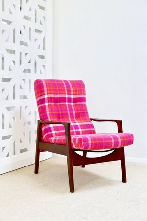 Retro wool blanket chair. Pink tartan. | Furniture Upholstery in Taranaki, New Plymouth | Red Couch