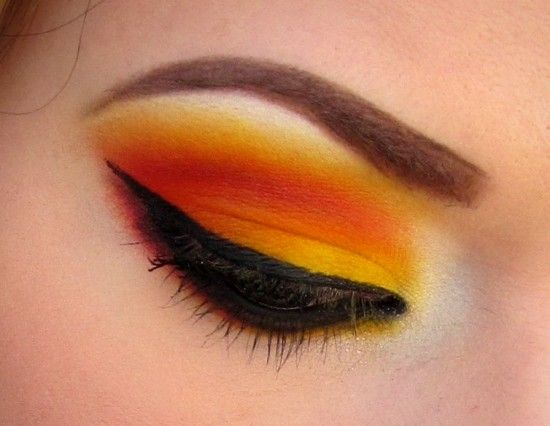 I wanted to find a bit of a different way to use the Burning Hearts palette from Sugarpill so I did a gradient effect where I started with yellow on the lid, blended into orange, which blended into red, then back to orange, and then yellow by the brow.