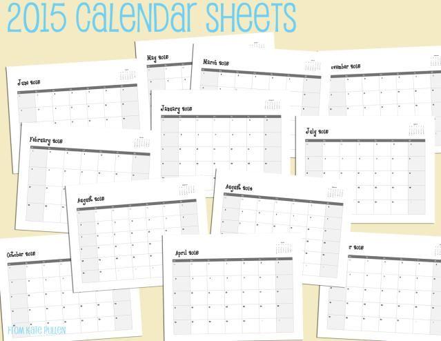 Free 2015 Printable Calendar Sheets