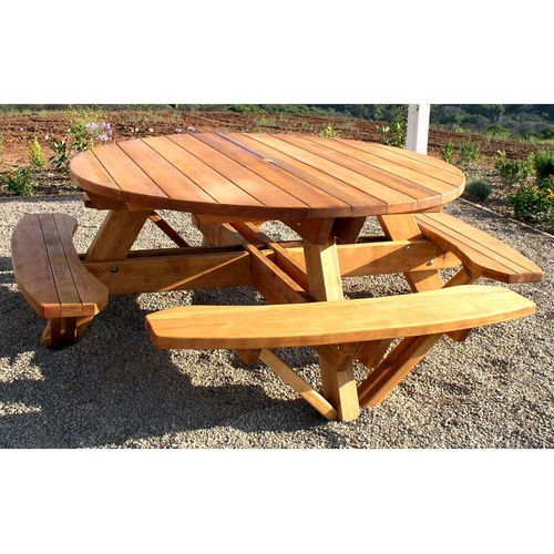 Round Picnic Table Plans Redwood Outdoor Round Picnic