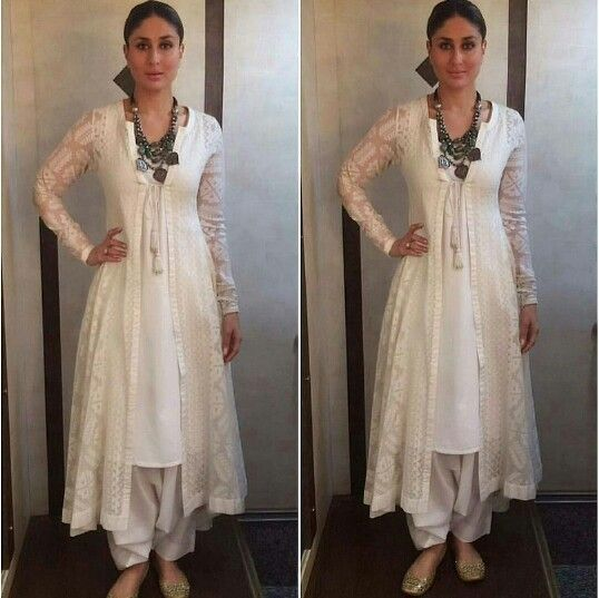 "Kareena Kapoor wearing white shalwar kameez with chunky necklace for her movie ""Ki and Ka"" Promotions"