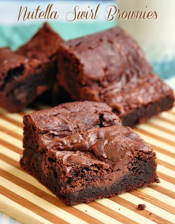 These Nutella Swirl Brownies are soft, chocolatey, chewy edges and swirled with Nutella in the batter. Some of the best brownies you will ever try anywhere.