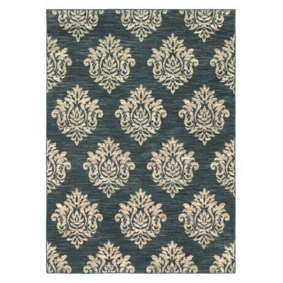 Shaw Living® Damask Area Rug   Navy Teal Accents In A Grey Master