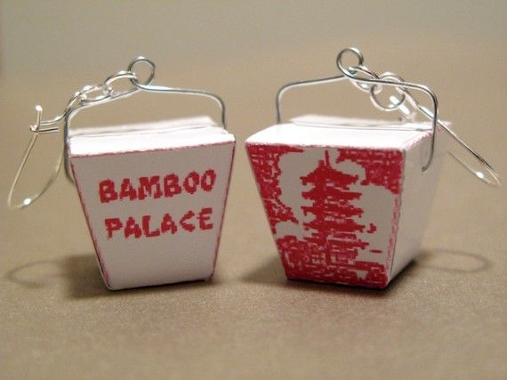 Mini Chinese Take Out Box Earrings by Obyhoyee on Etsy, $12.00