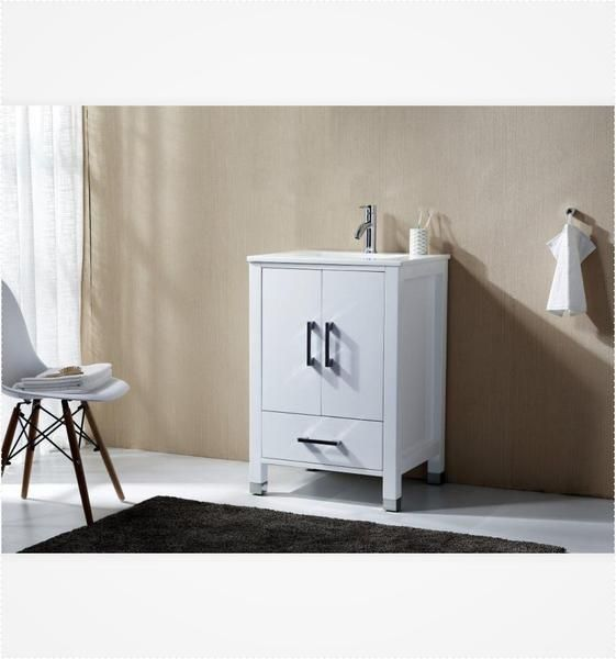 "Anziano 30"" High Gloss White Bathroom Vanity w/ Quartz Top - The Vanity Store Canada"