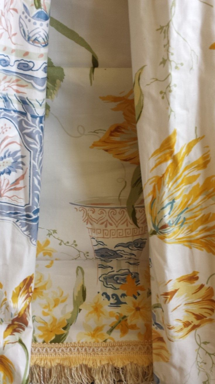 """Two beautiful Colefax and Fowler Chintz curtains with a matching Roman blind, complete with fringing.Pattern named """"Kingham"""" Blind measures 95cms wide x 160cms long, and the curtains cover a track width of 406cms x 221cms long."""