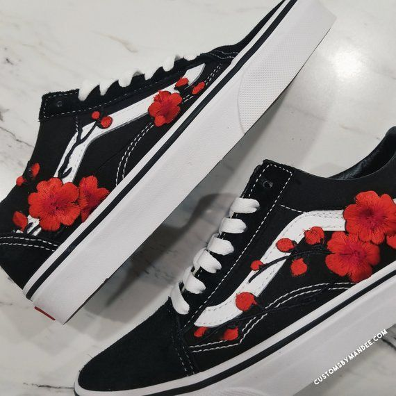 Cherry Blossom Sakura Custom Rose Embroidered-Patch Vans Old Skool Sneakers – Shoes