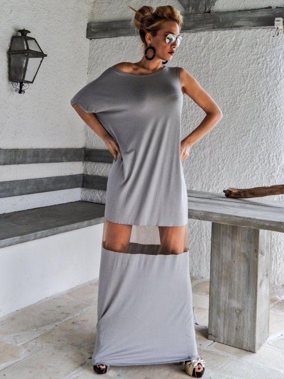 Synthia Psarru Couture - Light Gray Maxi Dress Kaftan with See-Through Details / Asymmetric Dress / Oversize Loose Dress / #35063
