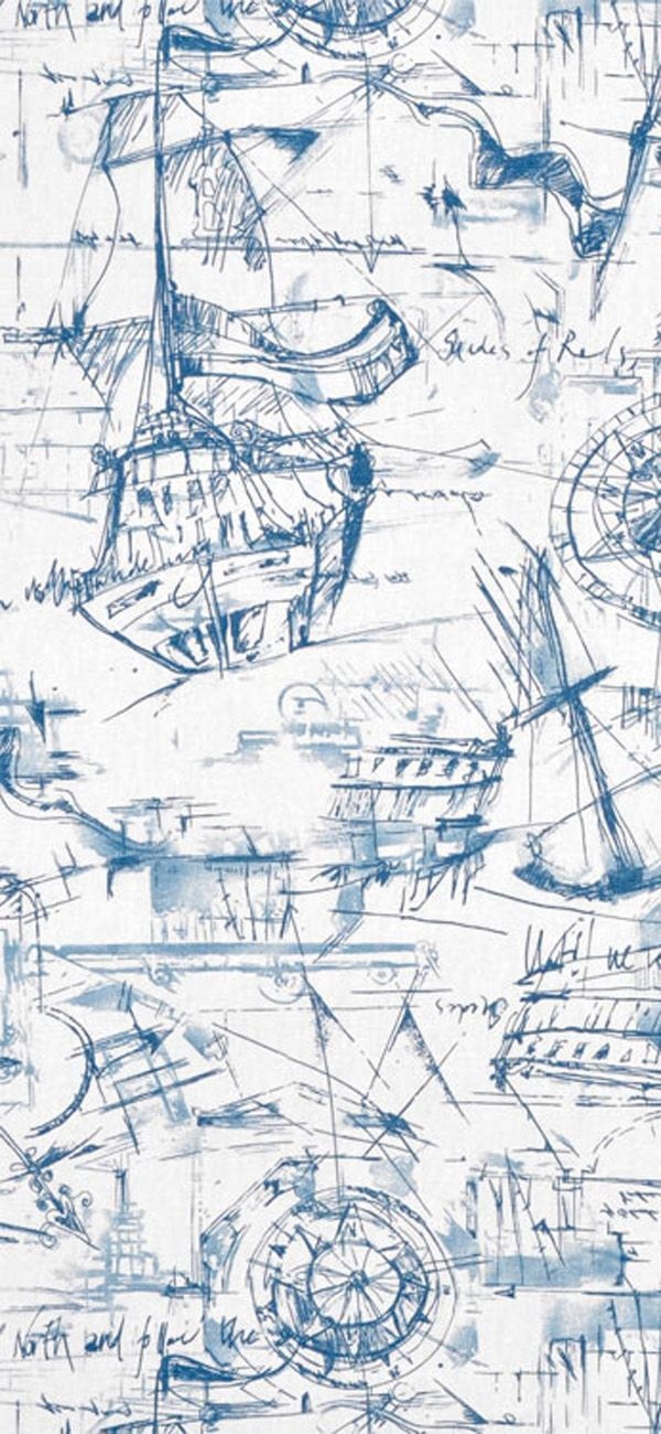 Premier Prints Schooner Nautical Fabric #blue #ship #sailing