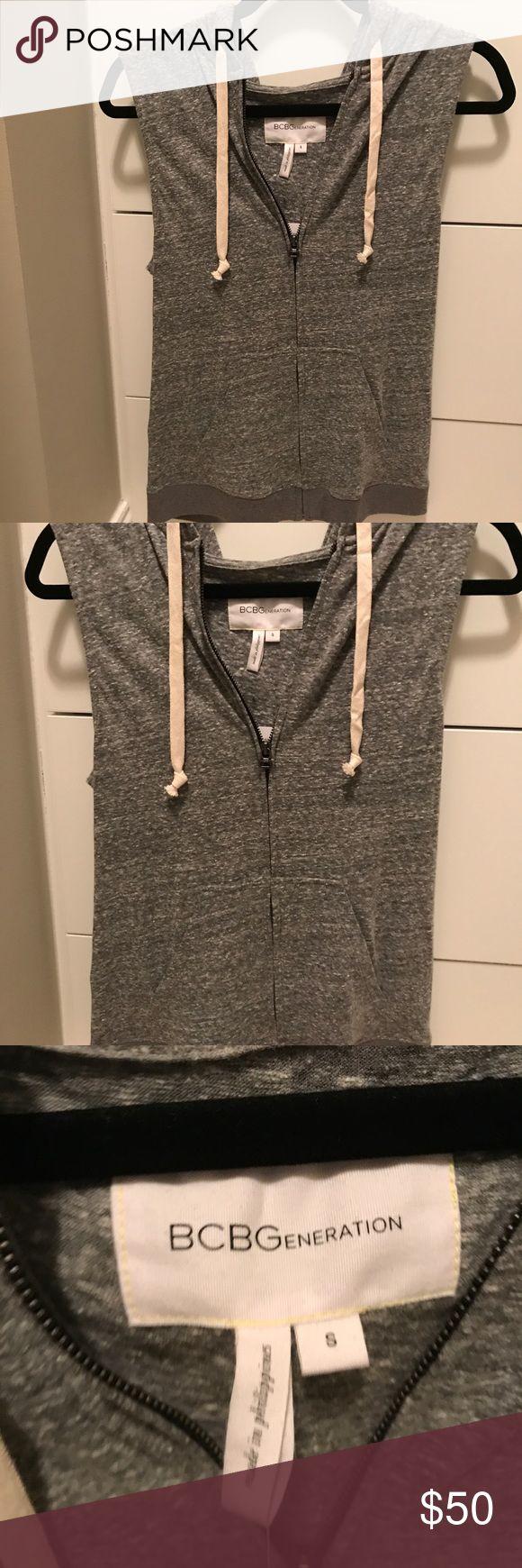 NWT BCBGeneration gray t shirt vest NWT BCBGeneration gray t shirt vest with hood, size small BCBGeneration Tops