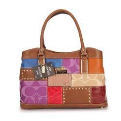Coach Holiday Fashion Stud Medium Brown Multi Satchels EBK