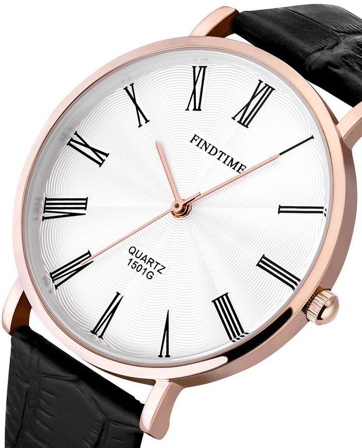 Findtime Uomini neri orologi al quarzo sottili casual in pelle Classic Elegance: Amazon.it: Orologi