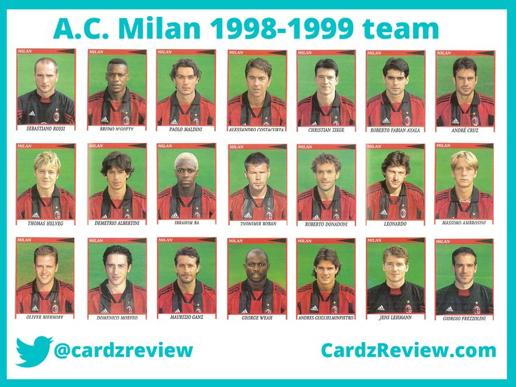 AC milan football players 1998-99 season stickers.