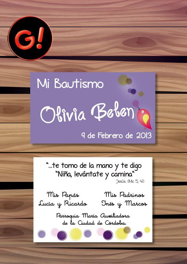 Diseño de Tarjeta para Souvenir - BAUTISMO -