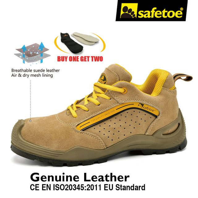 Breathable Brand Men Safety Shoes Footwear Work Boots with Steel Toe Cap Leather Light Weight Working Shoes Size US 4-13