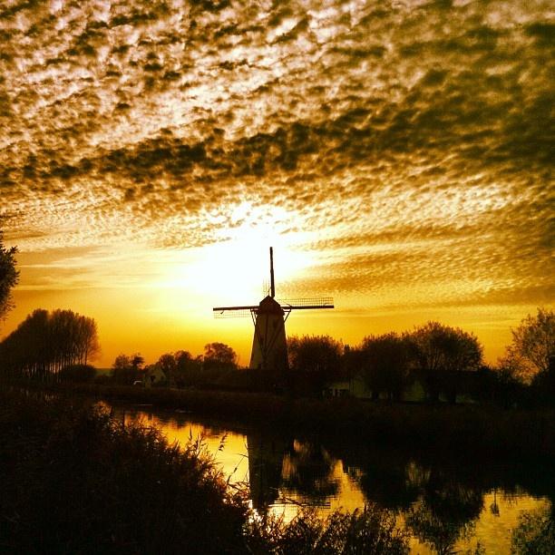 Een windmolen aan de Dammervaart tijdens de zonsondergang op 22 oktober 2012 #mill #damme #sunrise #sky #clouds - @marcel_tettero- #webstagram