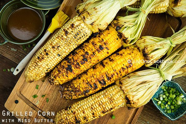 Grilled Corn with Miso Butter  | Sweet and delicious grilled corn marinated in miso butter, using Hikari Miso's saikyo miso.