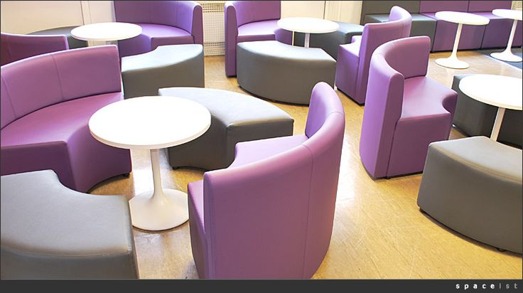 Modular furniture from Spaceist, currently used in the eLounge and very popular with students. This vinyl-covered furniture is expensive, but it's easy to keep clean and is wearing well. Spaceist have also supplied AUCB.