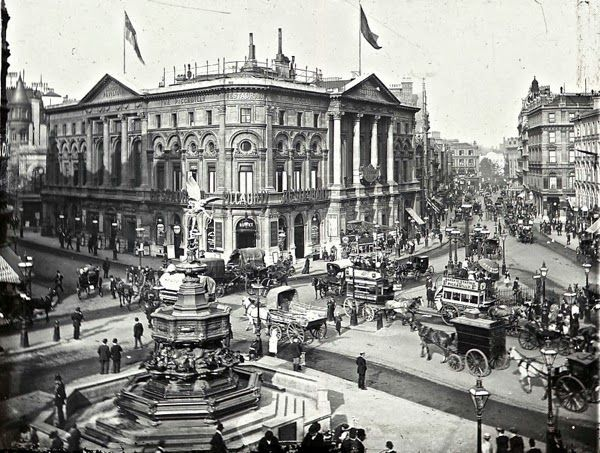 London's Picadilly Circus ca1900. Built in 1819 as part of Prince Regent-George IV's effort to create a more representative capital area in the West End, it links Regent Street to Picadilly and several other major streets. It has so far survived several projects to replace it with a modern version carrying great volumes of vehicle traffic. JC