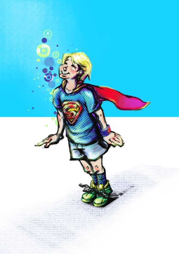 スーパーマン好きの少年(He fantasized that he was Superman.)