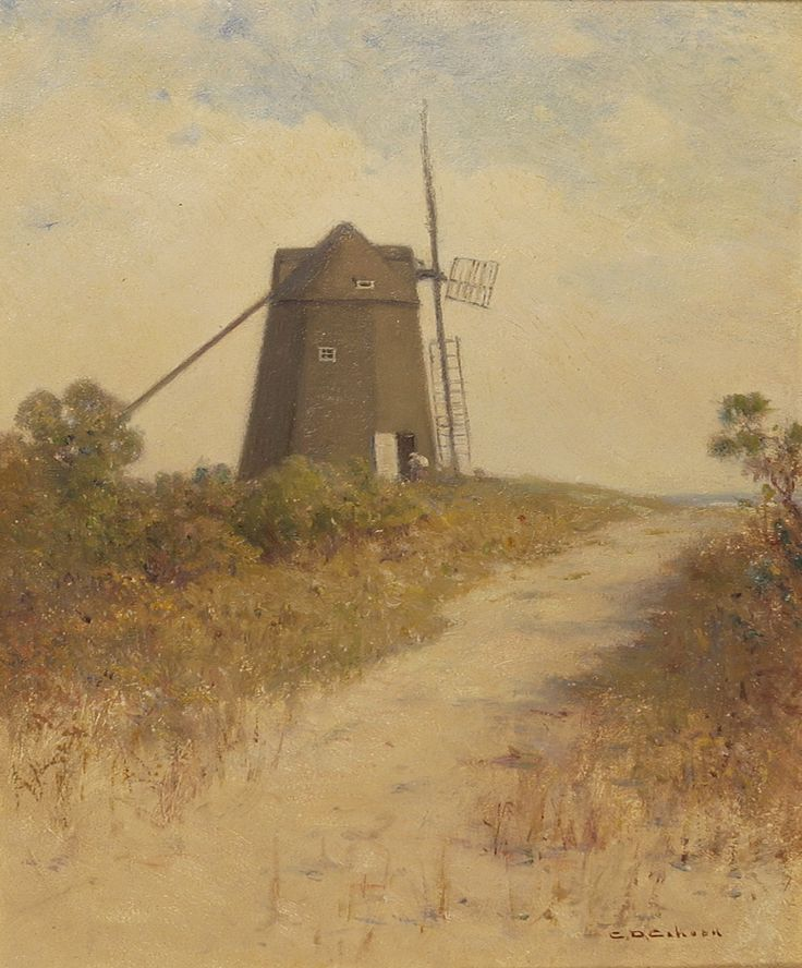 Windmill Cape Cod Part - 24: CHARLES DREW CAHOON American, 1861-1951 Cape Cod Windmill. Oil On Board,