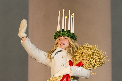 St. Lucy brings light to the darkest time of the year. In 2012 Finland's official candlehead was Julia Hanhikoski.