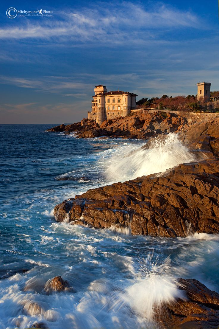 Beautifully restored Castello del Boccale ~ with dramatic landscape of The Pirates Cove, Livorno, Italy