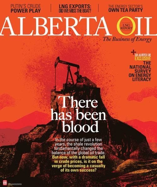 A cover illustration for Alberta Oil Magazine showing a sprawling