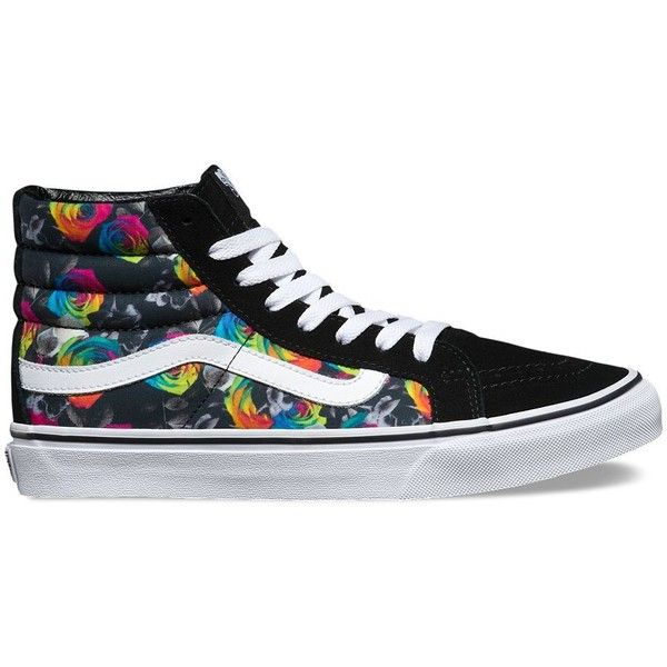 Vans Rainbow Floral SK8-Hi Slim ($70) ❤ liked on Polyvore featuring shoes, sneakers, s h o e s, multi, rainbow sneakers, lace up sneakers, rainbow shoes, lace up shoes and lace up high top sneakers