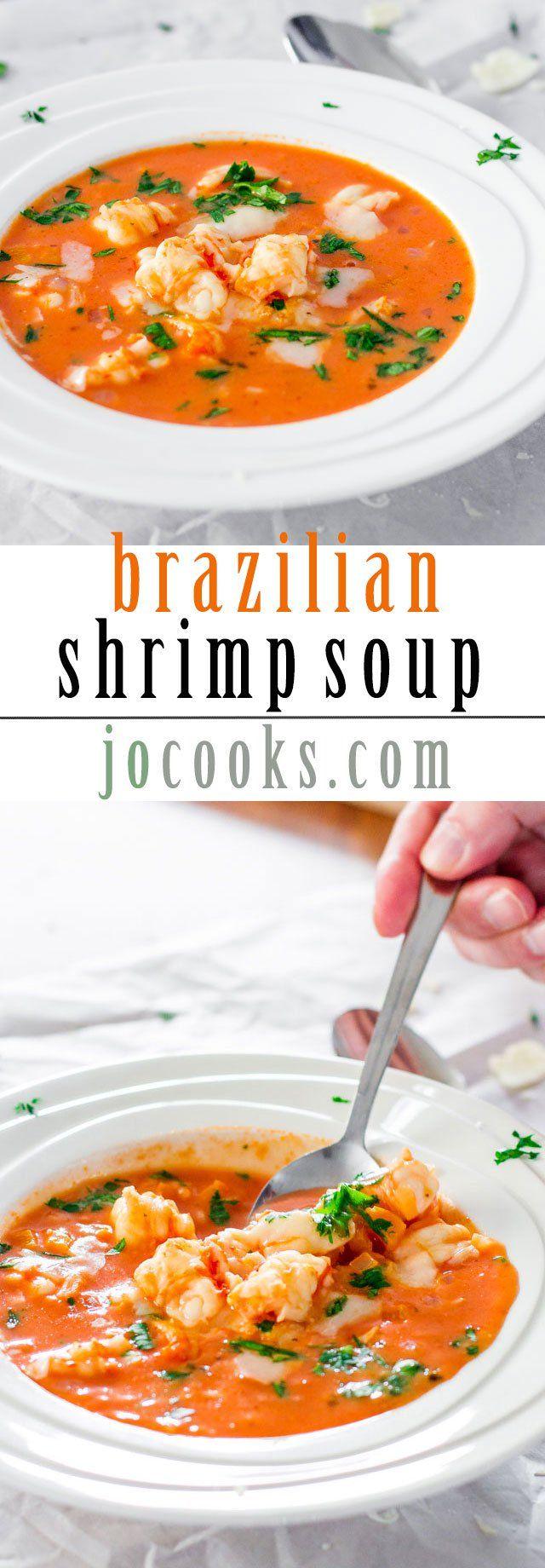Brazilian Shrimp Soup - a delicious tomato creamy soup with shrimp, coconut milk and seasoned to perfection.