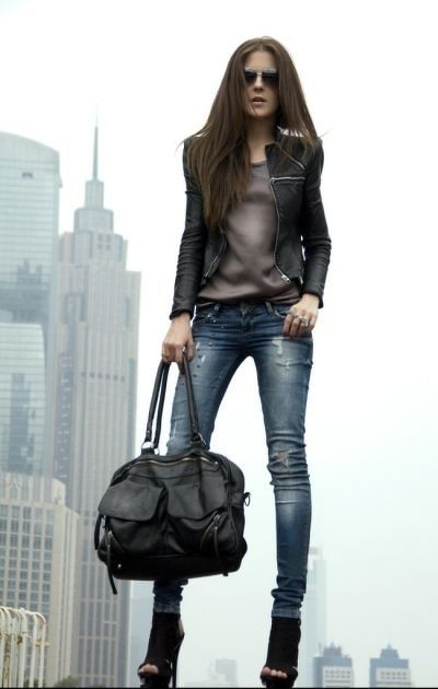 Distressed denim and leather jacket