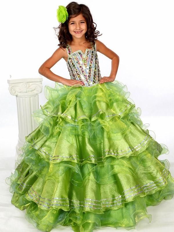 Charming 2015 Girls Pageant Dresses Spaghetti Strap Tiered -3757