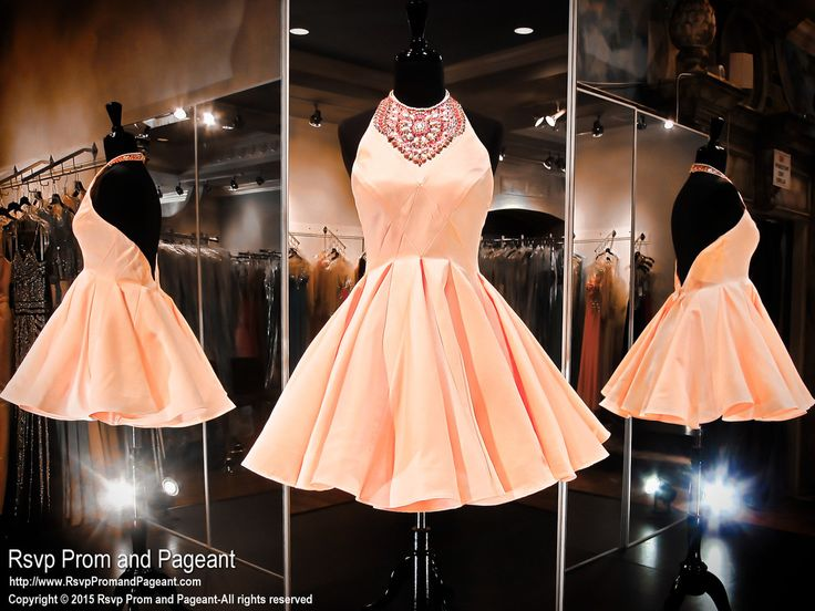 Light Coral Satin Short Homecoming Dress-High Beaded Halter Neckline-115RA040410 at Rsvp Prom and Pageant, your Atlanta Prom Store