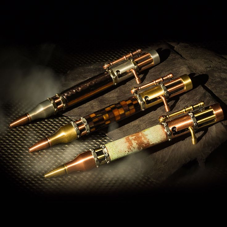 PSI Steampunk Bolt Action Pen Kits from Craft Supplies USA ---   This unique pen kit combines elements of Victorian science fiction and the industrial revolution into a single bolt action pen kit with classic steampunk styling.  Rivet designs, flat head screws, replica Gatling gun barrels and antique finish work together to make this pen kit Steampunk cool and fun to use too! #woodturning #penturning #penmaking #steampunk #penkit #psi