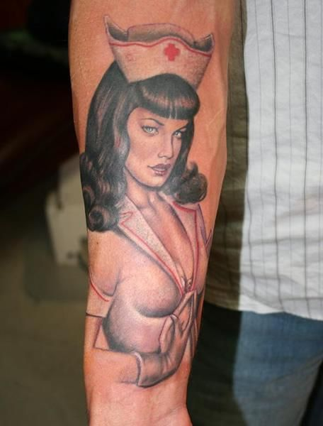 Pin up nurse art tattoo