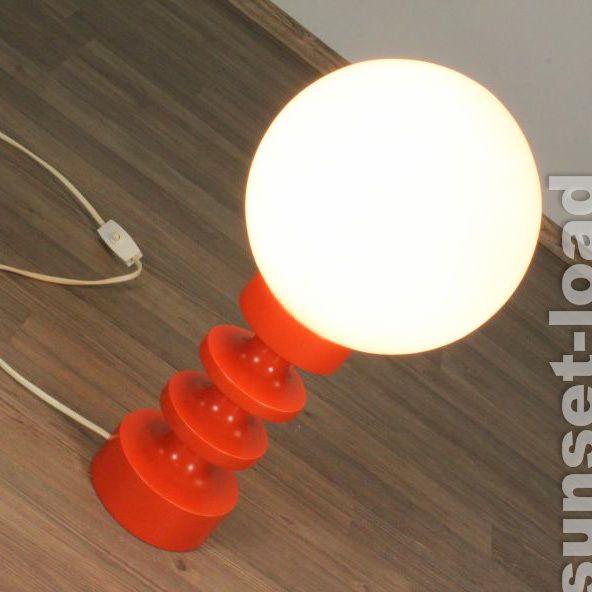 Alte Lese Lampe Glas Kugel Fuss Orange Pop Art Tisch Leuchte Jahre In Mbel Wohnen Beleuchtung Lampen